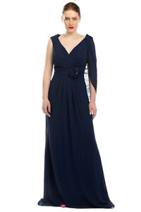 Crepe Column Gown Size 52 / 3XL Pleated Pleated Cape Effect Sleeveless V-Neck