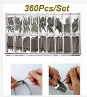 360pcs/set Watchmaker Watch Band Spring Bars Strap Link Pins Repair Kit Tools.
