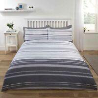 Duvet Set Cover - Single Polyester Cotton Bedset Grey Stripy Design Bedding Set