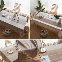 Simple Tassel Stitching Plaid Tablecloth Cotton Linen Table Cover Home Decor New