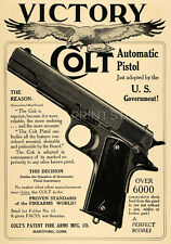 Vintage Colt 1911 Automatic Pistol Advertising Poster Giclee Canvas Print 28x40