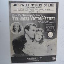 Songsheet Ah! DOLCE mistero della vita, la grande Vitor Herbert, Susanna FOSTER