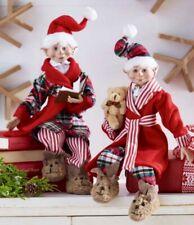 "16"" POSABLE ELF with ROBE & PAJAMAS Christmas RAZ So Adorable 3902250 NEW"