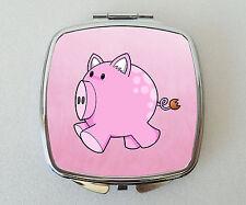 PIG Compact Mirror Fun Handbag Travel Beauty Cosmetic Makeup Novelty Gift