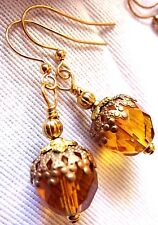 Gold Hook Drop Dangle Boho Primitive Acorn Nut EARRINGS USA Artisan Handmade