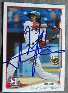 Texas Rangers Lewis Brinson Signed 2014 Topps Pro Debut Auto Card