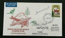 1990 Norfolk Island Flight Cover signed by Pilots Norfolk Island to Brisbane