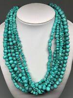 "Necklace Women's Imitation Turquoise Six Stranded 16"" Chunky Bohemian Vintage"