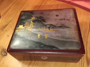 Vintage Papier Mache Lacquered Box Oriental Decorative Inlay 19.5 x 18.5cm