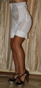 Vint New Crown-ette Hi Waist Zip Maximum Control Long Leg Girdle w Garters Wh 7X