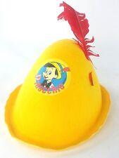 WALT DISNEY Pinocchio Jacobson Felt Hat Yellow Feather Souvenir Disneyana Vtg