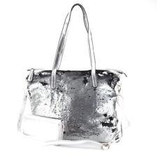 d8ce51a6d0655 Tasche Pailletten Glitzer Shopper Metallic Silber + Geldbörse Portemonnaie  Neu