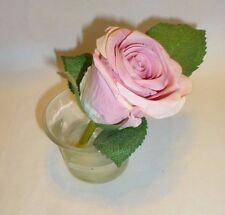 Small Fake Pink Flower in Glass Holder