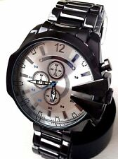 Men's Large Watch Montres Carlo MC42633 Black Metal Bracelet Band White Dial