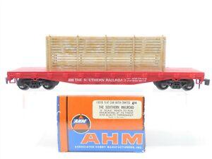 O Scale 2-Rail AHM 7301B SOU Southern Flat Car #4356 w/ Crate Load