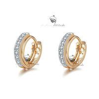 18k yellow white gold gf made with swarovski crystal huggies earrings