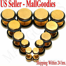 """Plugs 4G 2G 0G 00G 7/16 1/2"""" Steel V117 Gold Fake Cheaters Illusion Faux 16G Ear"""