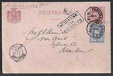 Surinam 1898 uprated Pc Suriname Via Plymouth