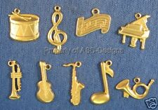90pc Raw Brass Musical Instrument Lot Charms 4609