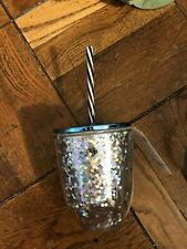 Havana NIghts 12 oz Stemless Tumbler with Floating Glitter w/straw