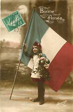 Carte Militaire Bonne Année façon patriotisme Enfant et drapeau tricolore