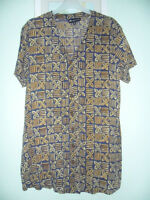 LADIES SHORT SLEEVED V NECK BLOUSE SIZE M FROM MONSOON  BROWN MIX FLORAL DESIGN