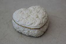 Lenox Roses Gold Trimmed Heart Shaped Ivory Trinket Dresser Box L#1169