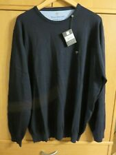 Fynch-Hatton SUPERFINE COTTON Crew Neck Jumper - Navy - Size XXXL - NEW + Tags