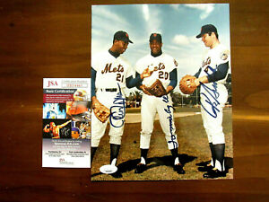 TOMMIE AGEE CLEON JONES RON SWOBODA 1969 WSC METS OF'ER SIGNED AUTO PHOTO JSA