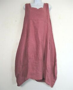 NEW PLUS SIZE 100% LINEN LAGEN LOOK DRESS WITH FRONT POCKETS TO FIT SIZES 20-24