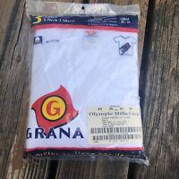 Vintage 90s Grana Mens White V Neck T Shirt Sz 42-44 L 3 Pack New Deadstock USA