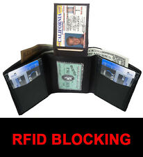 RFID BLOCKING BLACK MENS GENUINE  LEATHER ID CARDS PLAIN TRIFOLD WALLET FLAP TOP