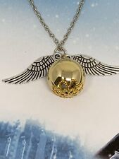 Harry Potter Quidditch Golden Snitch Pendant Necklace, W/Gift Box!