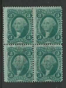 Bigjake: R19c, 3 cent Telegraph BL/4 - Railroad Cancel - 1st Revenue Issue