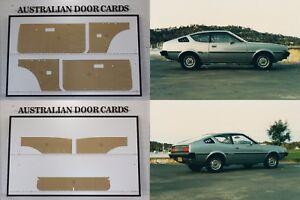Chrysler, Mitsubishi LC Lancer Hatchback, Liftback Door Cards. Set of 7 panels.
