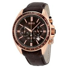 NEW AUTHENTIC HUGO BOSS 1513093 MENS ROSE GOLD BROWN LEATHER STRAP 44MM WATCH UK