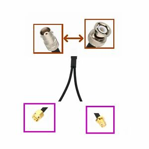"""1x BNC to 2x SMA Male/Female Antenna GPS Splitter/Combiner Y Adapter RF 6"""" cable"""