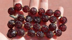 1930's Chinese Dark Cherry Amber Bakelite Carved Carving Bead Necklace