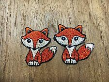Set 2 pcs. Super Cute Little Brown Fox New Iron On Patch Embroidered Applique