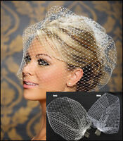 New White Charming Wedding Veil Bridal Birdcage Veils Net with Comb UK