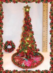 "NEW! 8-1/2"" OOAK LIGHTED DOLLHOUSE MINIATURE PINE CHRISTMAS TREE+125 ORNAMENTS"