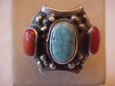 12g Size 9.5 Fine Jewelry Southwestern Ring Natural Turquoise Coral Sterling