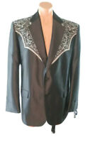 NWT Circle S 46R Western Sport Coat San Miguel Embroidered Yoke Black Blazer