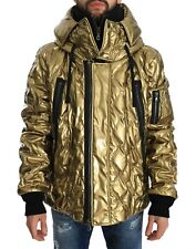 NEW $1500 DOLCE & GABBANA Jacket Gold Quilted Hooded Coat Parka IT60 /US50 / XXL