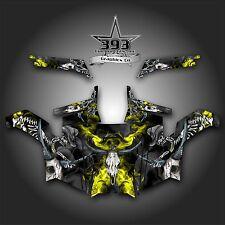 Polaris RZR 900 XP UTV Wrap Graphics Decal Kit 2011-2014 Skull Rider Yellow