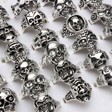 wholesale lots 20pcs Gothic skull carved biker assorted men silver tone rings