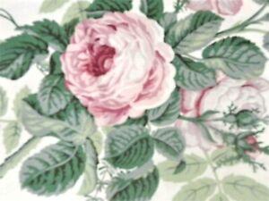 Cyrus Clark Polished Cotton Chintz Cabbage Rose Fabric 2 1/8 Yds