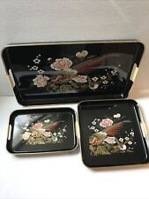 Vtg Mandarin 3 Piece Lacquerware Tray Set Black With Peacocks New in Box
