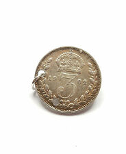 Antique Edwardian Charm Three Pence Coin 1902 Sterling Silver 1.4g