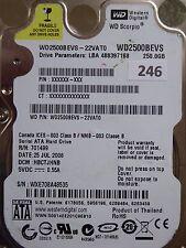 250GB Western Digital WD2500BEVS-22VAT0   HBCTJHNB   2060-701499-000 REV A #246